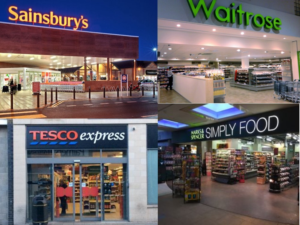 英國超市, Sainsbury's, tesco, waitrose, M&S